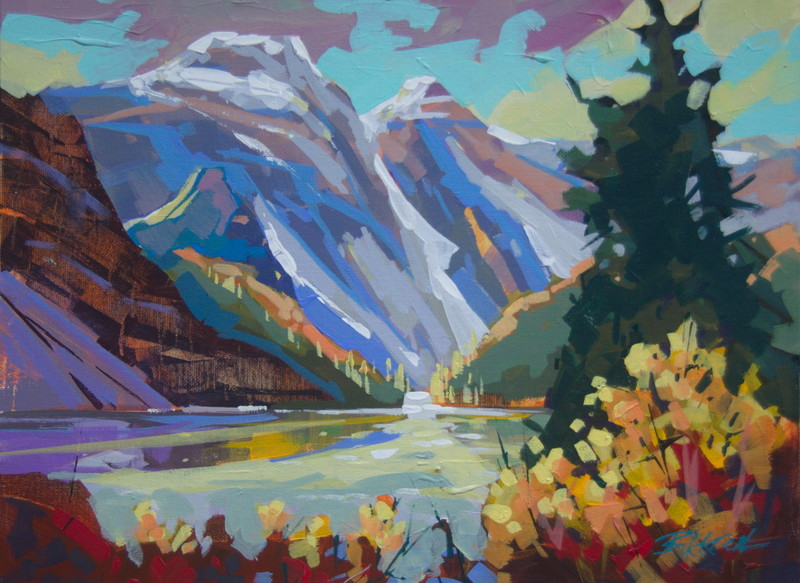 Moraine Lake Morning byBrian Buckrell.Acrylic, 12 x 16 in