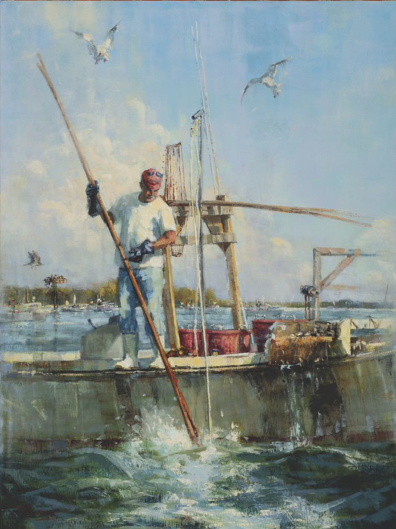 Podgin' For Oysters by Nancy Tankersley. Oil On Canvas, 48 x 36 in