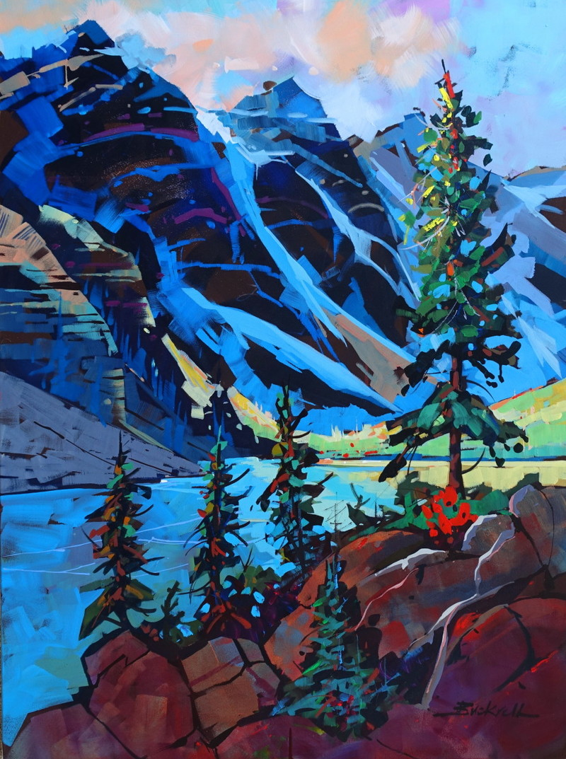 Early Light Moraine Lake byBrian Buckrell. Acrylic, 30 x 40 in.