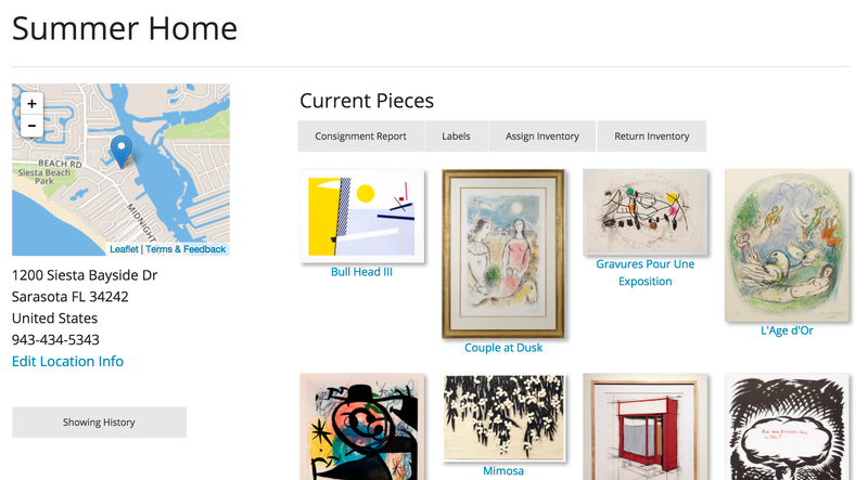 A view of which artwork is stored at which location in your Artwork Archive profile